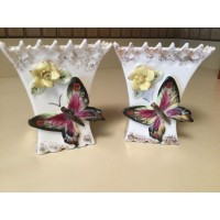 Vintage Hand Painted Butterfly Porcelain Wall Pocket Vase Sconce Art Pottery Set   192573731029