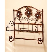 Bronze Floral 2 Wires Wall Shelf 3D Jeweled Elegant Flower Towel Rack Bath Decor 626850280333  253112070442