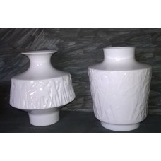 EDELSTEIN - KURT WENDLER - TWO WHITE GLOSS RELIEF MOULDED VASES - NATURE - L@@K   232867506918