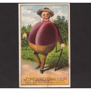 Veggie People Plum Full 1887 Addison Shoe Store Seneca Falls NY Farm Trade Card   312190835195