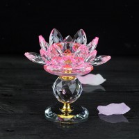 Buddhist Lotus Flower Crystal Tealight Candle Holders Candlestick Artwork Craft   332509723576
