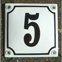 CLASSIC ENAMEL HOUSE NUMBER SIGN. BLACK No.5 ON A WHITE BACKGROUND. 10x10cm.   131919981379