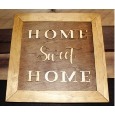 "Home Sweet Home Wood Art Sign 3D 13 1/2"" x 13 1/2""   153140028302"