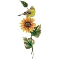 Goldfinch on Sunflower Metal Bird Wall Art Sculpture-  Bovano of Cheshire #W4167   311657434036