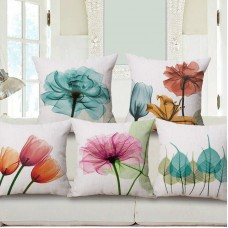 "18"" Flower Printed Pillowcase Cotton Linen Pillow Case Sofa Room Cushion Covers   263879448599"