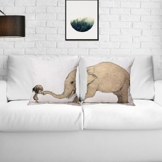 1x Cartoon Elephant Dinosaur Whale Linen Sofa Cushion Pillowcase Home Sofa Decor   202403675036