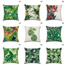 Bird Cushion Cotton Hot Case Sofa Plant Cover Throw Forest Linen Leaf Pillow   323396555523