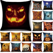Cat Witch Castle Linen Throw Halloween Pillow Case Cushion Cover Sofa Decor HOT   182725975002