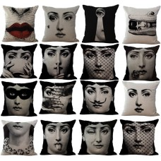 Cotton Linen  Vintage Piero Fornasetti Face Pillow Case Waist Cushion cover New   322506785680