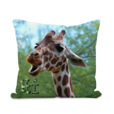 Giraffe Saying Hi 100% Polyester Velour Cushion - Original Artwork     202402950103