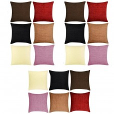"NEW SET OF 4 PLAIN CHENILLE LUXURY SUPER SOFT FEEL CUSHION COVERS 17 X 17""    122591887547"