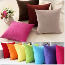 Plain Solid Throw Home Deco Pillow Case Bed Sofa Waist Cushion Cover Multicolor   112852649995