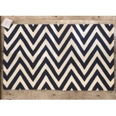 Pottery Barn Chevron Lumbar Pillow Cover Blue 16x26 Crewel Embroidered NWT   153139550626