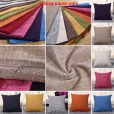 Vintage Cotton Linen Pillow Case Sofa Waist Throw Cushion Solid Cover Home Decor   263138522066