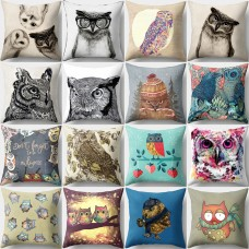 Vintage Owl Linen Pillow Case Sofa Waist Throw Cushion Cover Home Decor Fashion   282683334254
