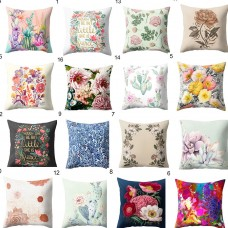 flower print cotton linen pillow case sofa  waist cushion cover Home Decor   282798058850
