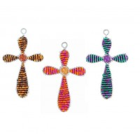 BEADWORX -  CONTEMPORARY CROSS - KEYRING - BEAD WORK GRASS ROOTS GLASS BEADS   321303725139