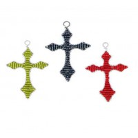BEADWORX - ARROW CROSS - KEYRING - BEAD WORK GRASS ROOTS GLASS BEADS   331113090038