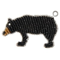 BEADWORX - BLACK BEAR KEYRING - BEAD WORK GRASS ROOTS GLASS BEADS    331328455392