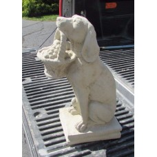 "CONCRETE LABRADOR DOG HOLDING FRUIT BASKET 19"" TALL GRAVE MARKER   401368796248"