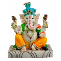 God Ganesha Resin Idol Sculpture Statue Top Quality Marble Polish Size 6.5 Inch   282875811016