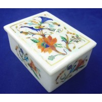 Marble Jewelry Box Semi Precious Stones inlay handicraft home decor and gift   253815828649