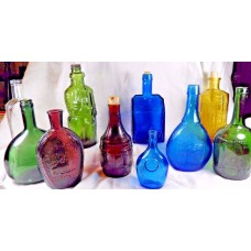 10 Glass Bottle Collection Cognac Cabin Wheaton Indian Union Moses Root Franklin   192615862922