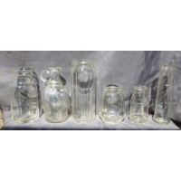 DECORATOR BOTTLES- 6 Crystal Clear Art Deco Period Food Jars/Bottle-Heinz-1920s   372399924609