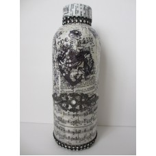 Decorative Altered Glass Bottle Romantic Collage Mixed Media Vanity Gift   113164162122