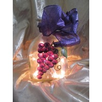 Hand Painted Grape Clusters - Lighted Wine / Patron Bottle Light    232855902826