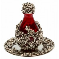 Holiday Red Glass-Silver Wrap Tear Bottle With Tray #2050-6041 876857002050  152973416204
