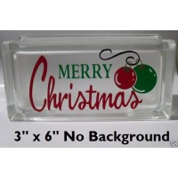 Cute Merry Christmas with ornaments Decal Sticker for Glass Block DIY Crafts   332437364160