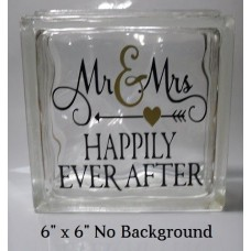 "Happily Ever After wedding decal sticker for 8"" Glass Block DIY   323289854390"