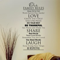 "OUR FAMILY RULES Classic Removable Home Wall Decal Vinyl Quote Decor Art DIY 45""   272902653123"